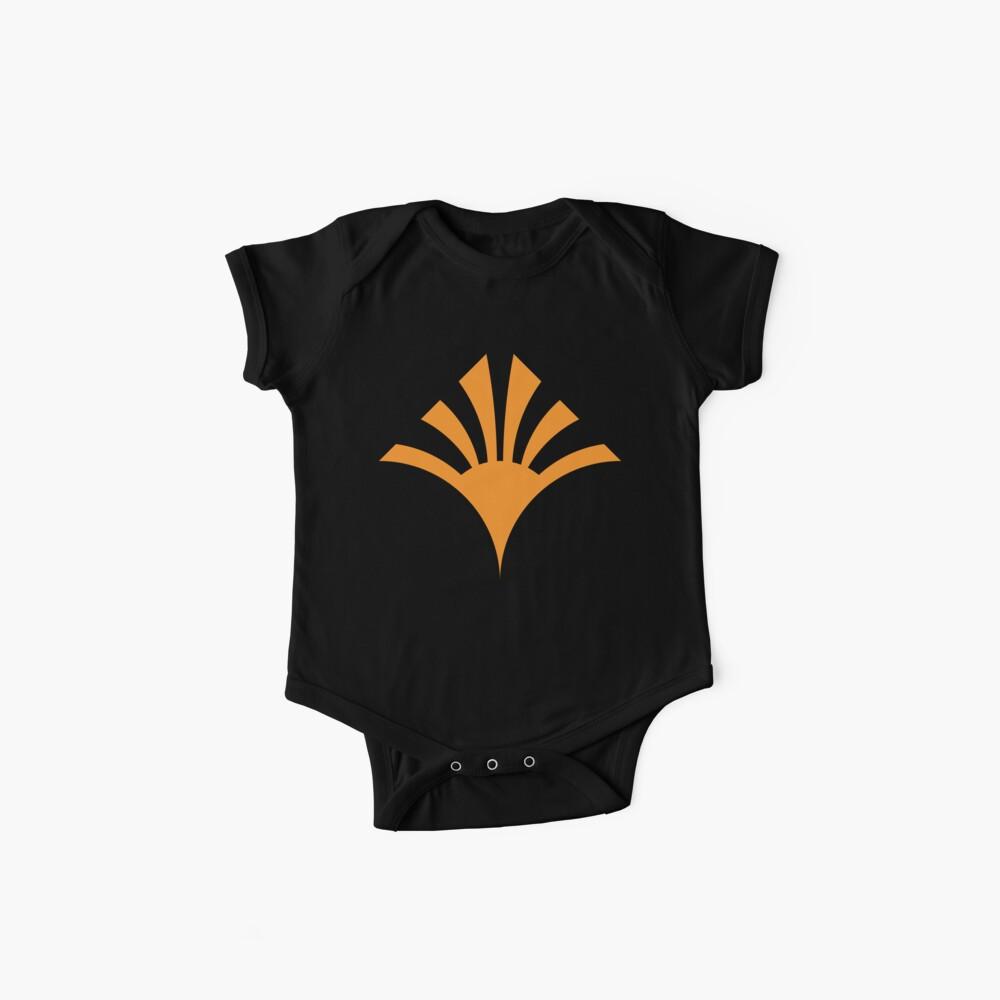 Geometric Pattern: Deco Sunset: Orange/Black Baby One-Piece