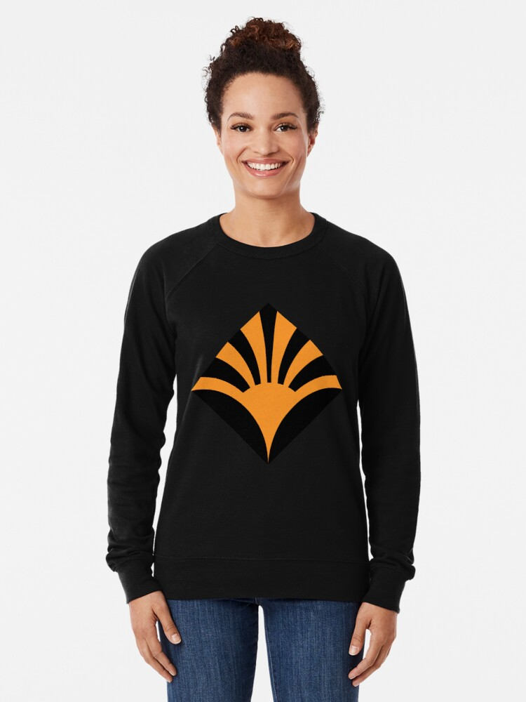 Alternate view of Geometric Pattern: Deco Sunset: Orange/Black Lightweight Sweatshirt