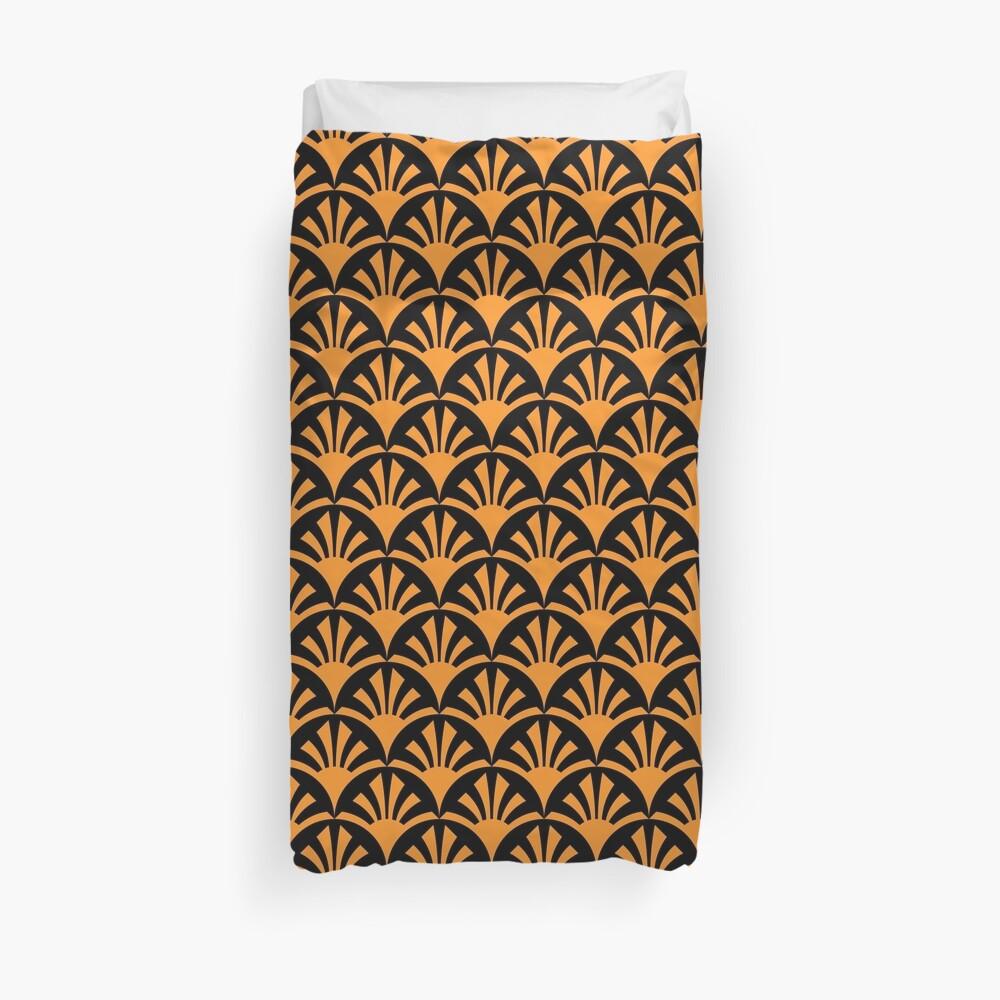 Geometric Pattern: Deco Sunset: Orange/Black Duvet Cover