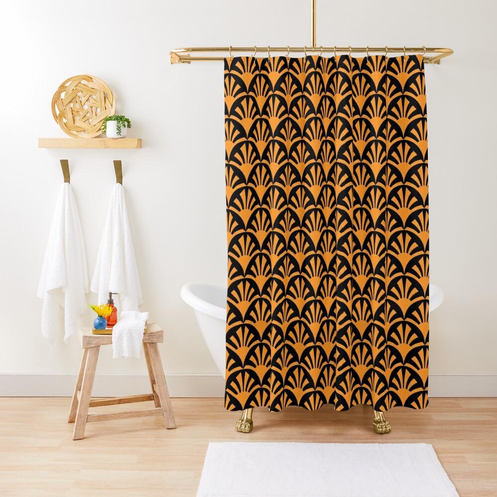 Geometric Pattern: Deco Sunset: Orange/Black Shower Curtain