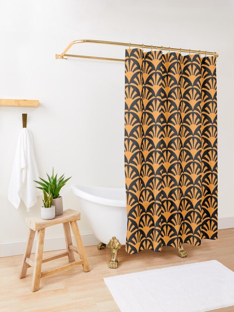 Alternate view of Geometric Pattern: Deco Sunset: Orange/Black Shower Curtain