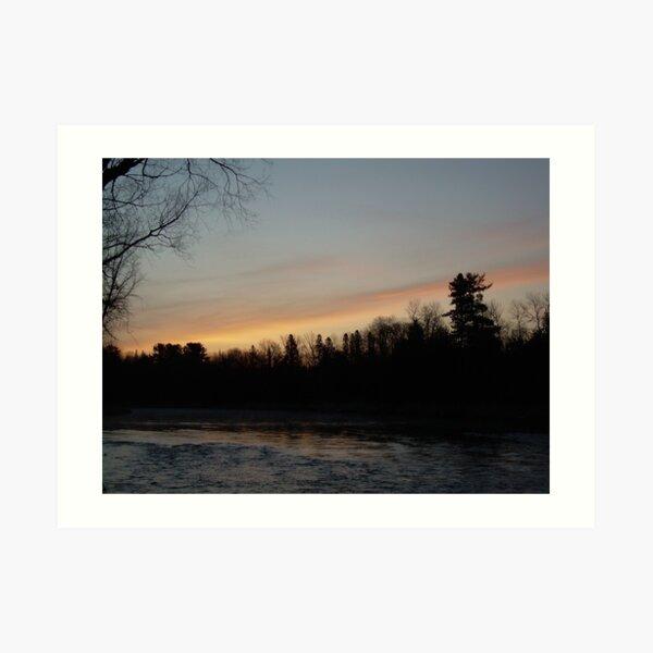 Orange Clouds at Dawn, Mississippi River Art Print