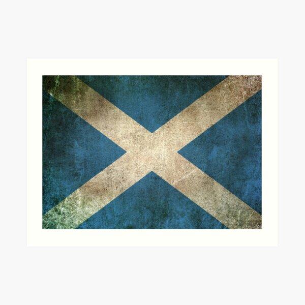 Old and Worn Distressed Vintage Flag of Scotland Art Print