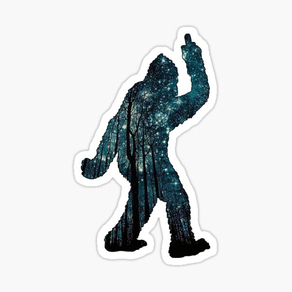 Bigfoot - Middle Finger - Stars Sticker