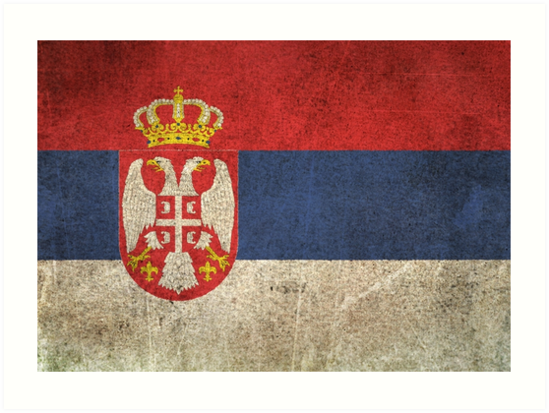 Old and Worn Distressed Vintage Flag of Serbia by jeff bartels
