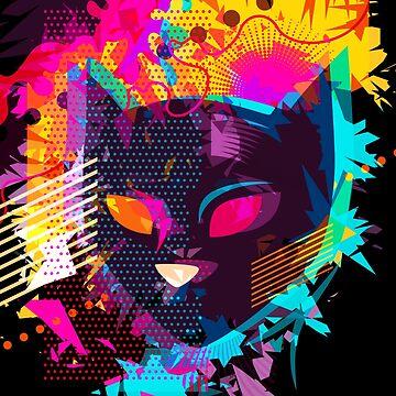Popart Cat Abstract Art Digitalart Pet Cat Mum Gift by Netsrikfa