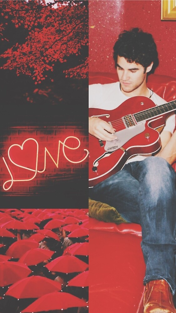 darren criss red aesthetic collage by sarabbz