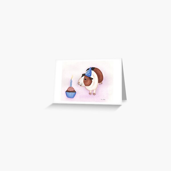 Guinea Pig and Birthday Cake Greeting Card