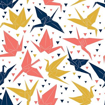 Japanese Origami paper cranes, symbol of happiness, luck and longevity, blue coral mustard  by EkaterinaP