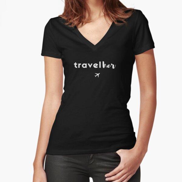 TravelHer White print Fitted V-Neck T-Shirt