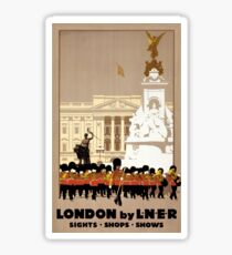 London Vintage Travel Poster Restored Sticker