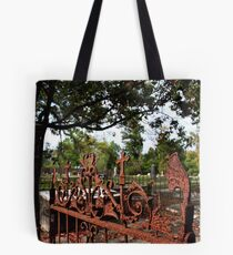 Gate At Journeys End Tote Bag