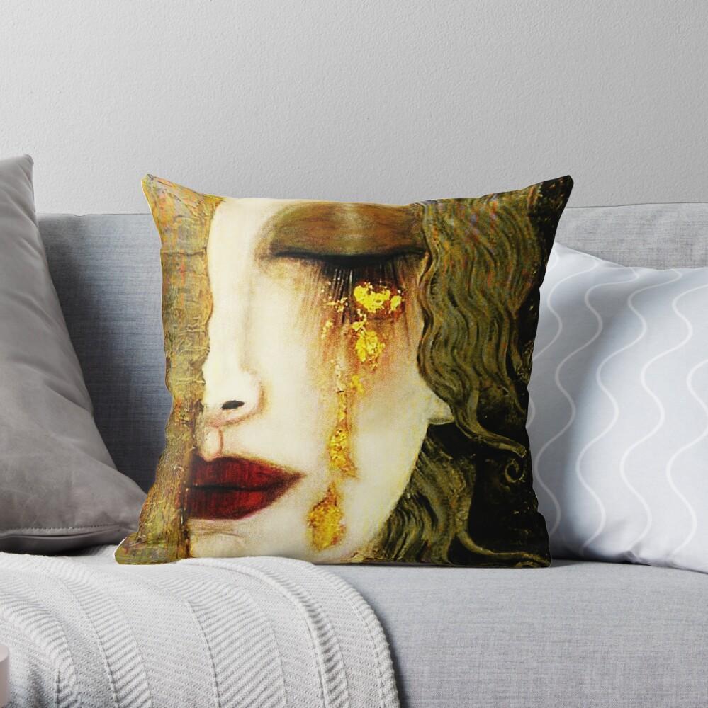 Gustav Klimt,  Golden Tears, Freyas Throw Pillow