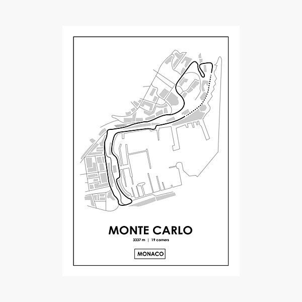 Monte Carlo - Mónaco Track Map Lámina fotográfica