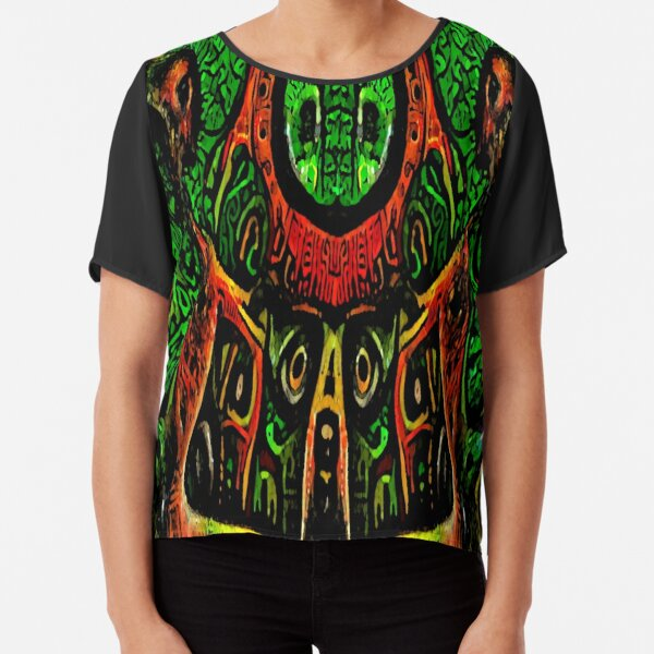 ABSTRACT ARTWORK - THRONE OF THE OWLS - CREEPY DYSTOPIAN ARTWORK TO FREAK OUT YOUR FLATMATE BY JANE HOLLOWAY Chiffon Top