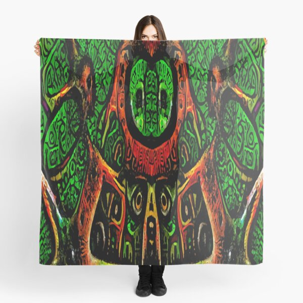 ABSTRACT ARTWORK - THRONE OF THE OWLS - CREEPY DYSTOPIAN ARTWORK TO FREAK OUT YOUR FLATMATE BY JANE HOLLOWAY Scarf