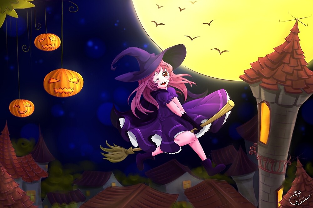 Happy flying little witch by PhinPhin