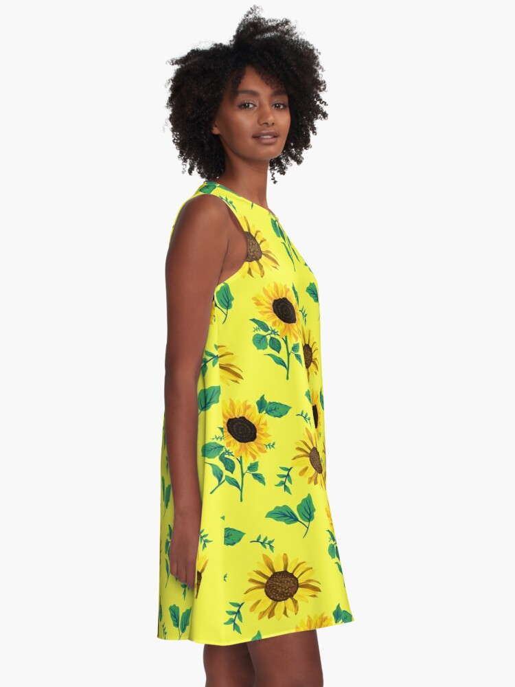 c7f23e221dd Alternate view of Sunflowers summer spring A-Line Dress