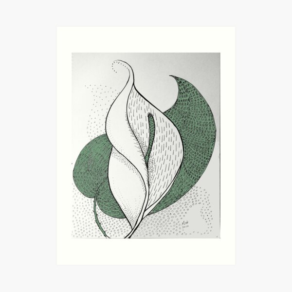 Leaf and Lily (with color) Art Print