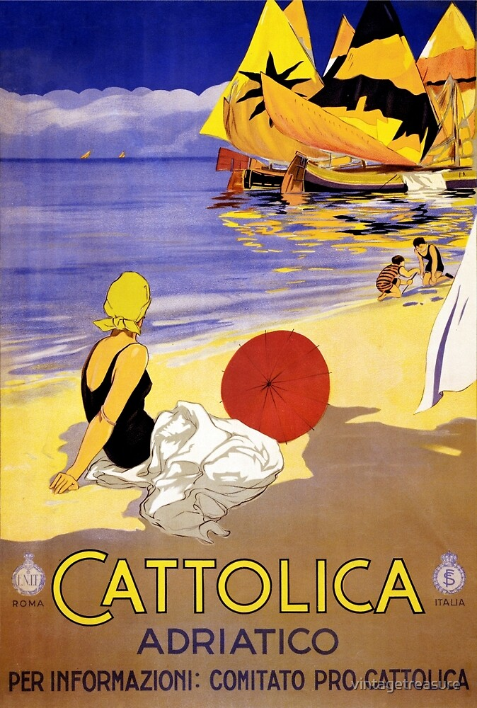 Cattolica Adriatico Italy Vintage Travel Poster Restored by vintagetreasure