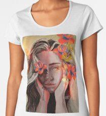 ROSE Camiseta premium de cuello ancho