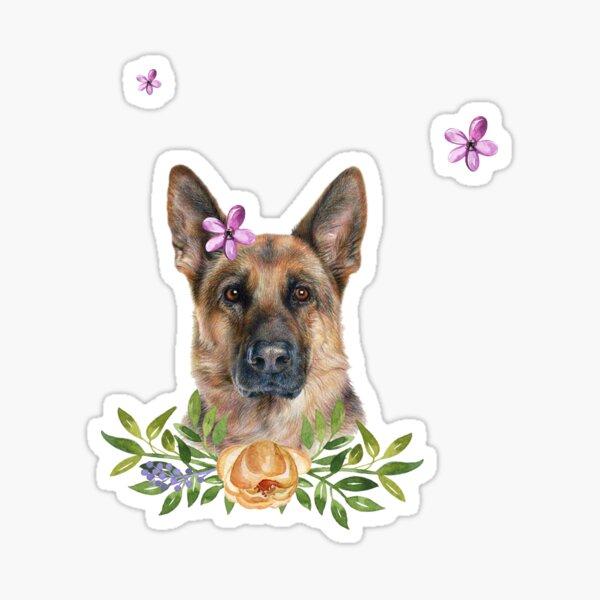 Floral GSD Sticker