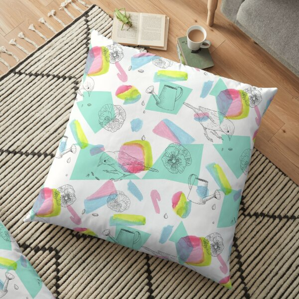 maximalist shapes garden delight with sparrow Floor Pillow