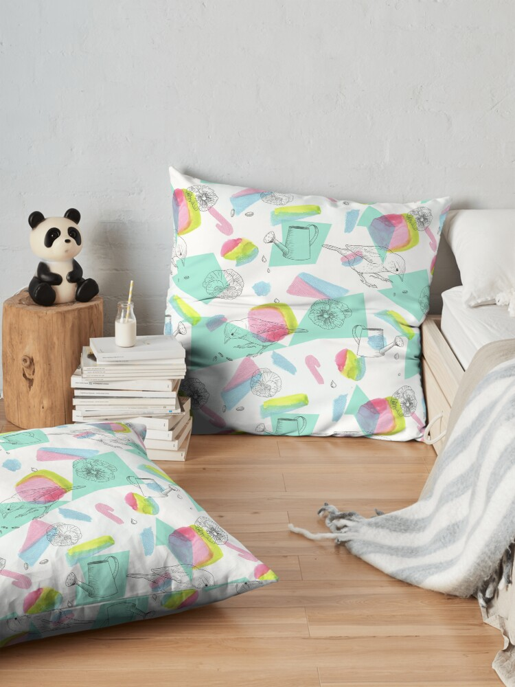 Alternate view of maximalist shapes garden delight with sparrow Floor Pillow