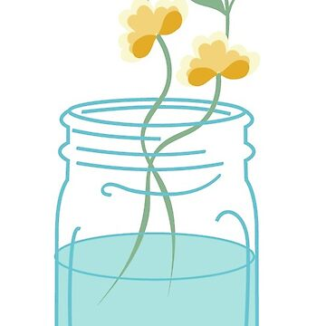 Floral Mason Jar Illustration by TeeVision