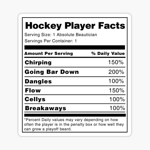Hockey Player Nutrition Facts  Sticker