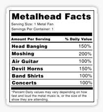 Metalhead Nährwertangaben Sticker