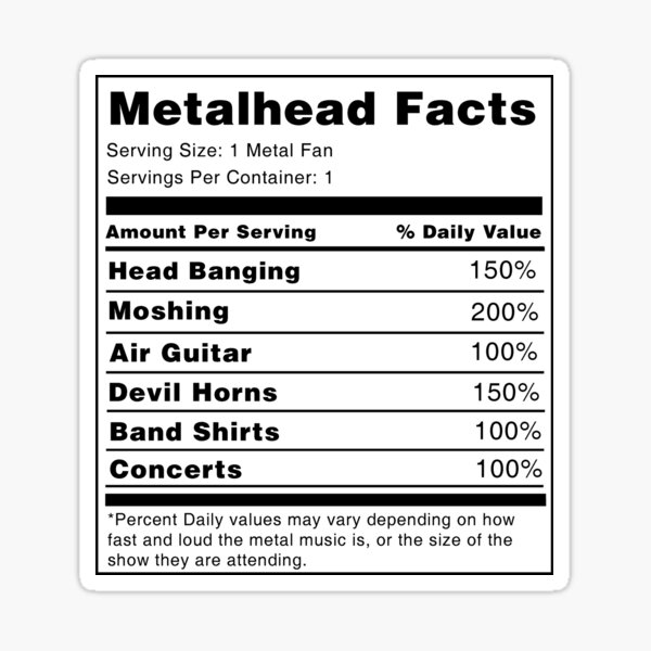 Metalhead Valeur nutritive Sticker