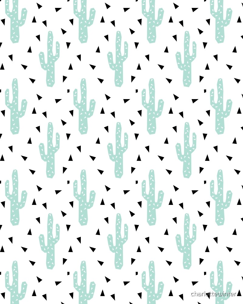 Cactus - modern minimal pattern print triangles geometric trendy hipster coachella festival  by charlottewinter