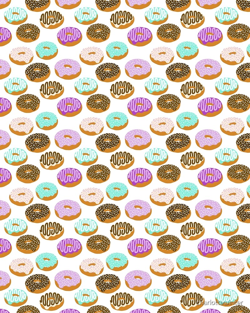 Donuts - junk food treat funny illustration with happy food face doughnuts pastry bakery by charlottewinter