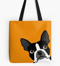 Peeking Boston Terrier funny dog art customizable gift for dog lovers dog person must haves Tote Bag