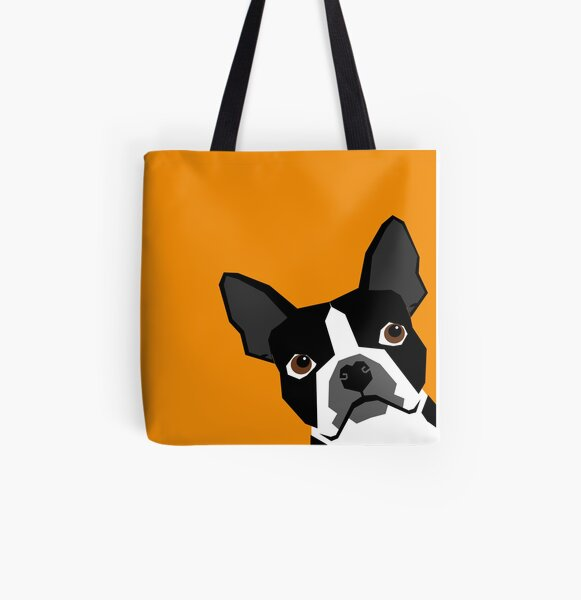 Peeking Boston Terrier funny dog art customizable gift for dog lovers dog person must haves All Over Print Tote Bag