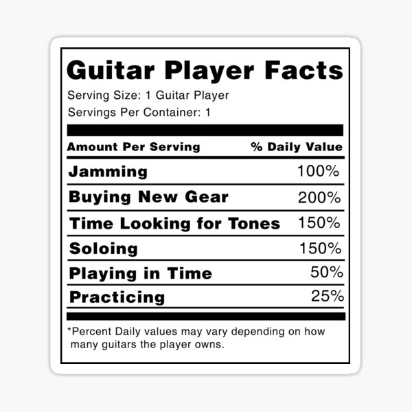 Guitar Player Nutrition Facts  Sticker