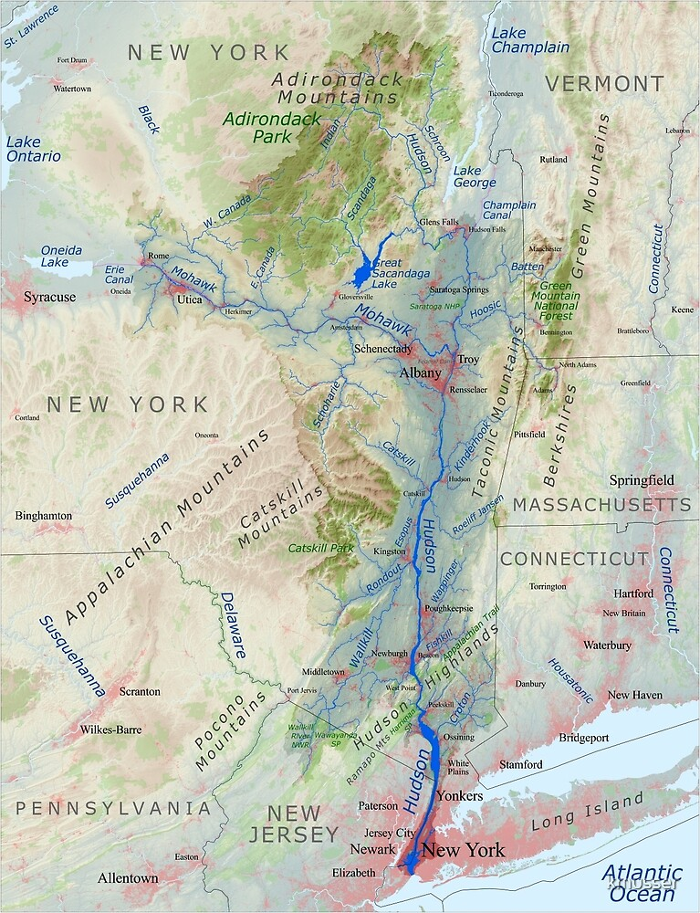 Hudson River Watershed Map - Labeled by kmusser