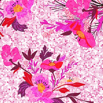 Pink Spring Flowers Mosaic Terrazzo by oursunnycdays