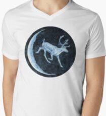 Magical, Glowing Reindeer V-Neck T-Shirt