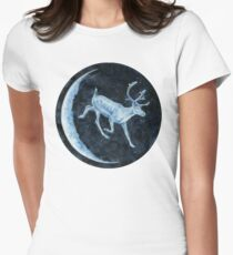 Magical, Glowing Reindeer Fitted T-Shirt