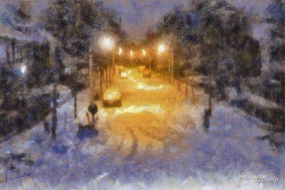 Snowy Night - Belgium by Gilberte