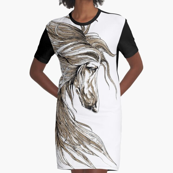 Afghan hound profile in sepia. Graphic T-Shirt Dress