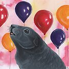 Grey Guinea Pig and Balloons by WolfySilver