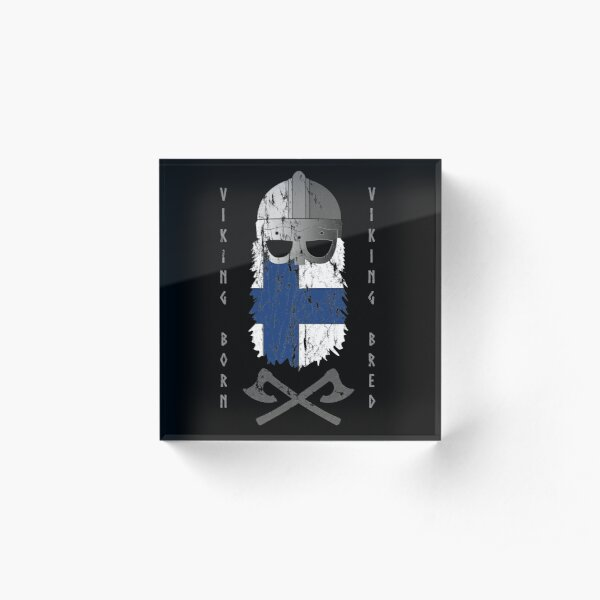 Finnish Viking Viking Born Viking Bred Helmet Acrylic Block