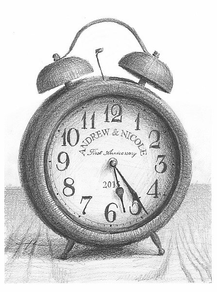 anniversary clock drawing by Mike Theuer