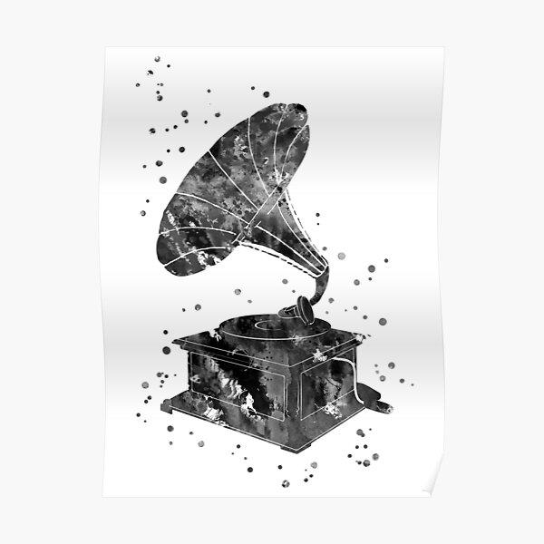 Antique gramophone, gramophone, gramophone retro, old gramophone Poster