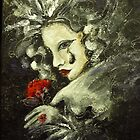 mask with red flower by Ivana Pinaffo