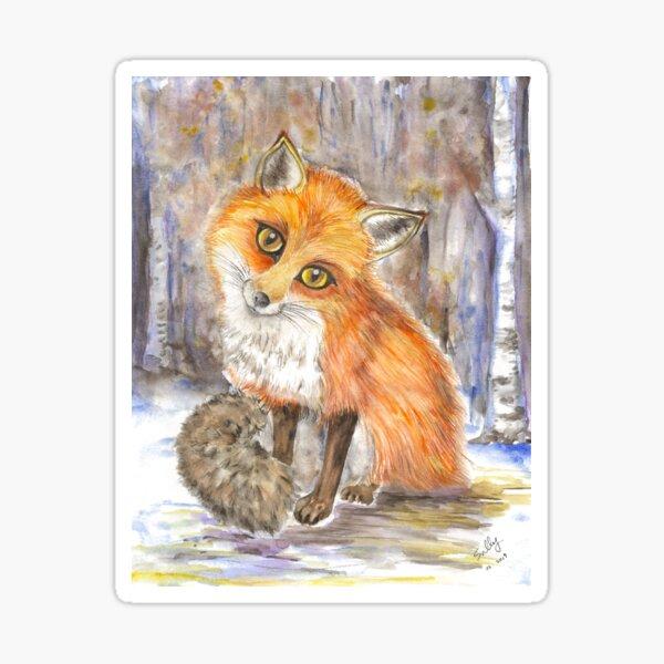Red Fox (watercolor) Sticker