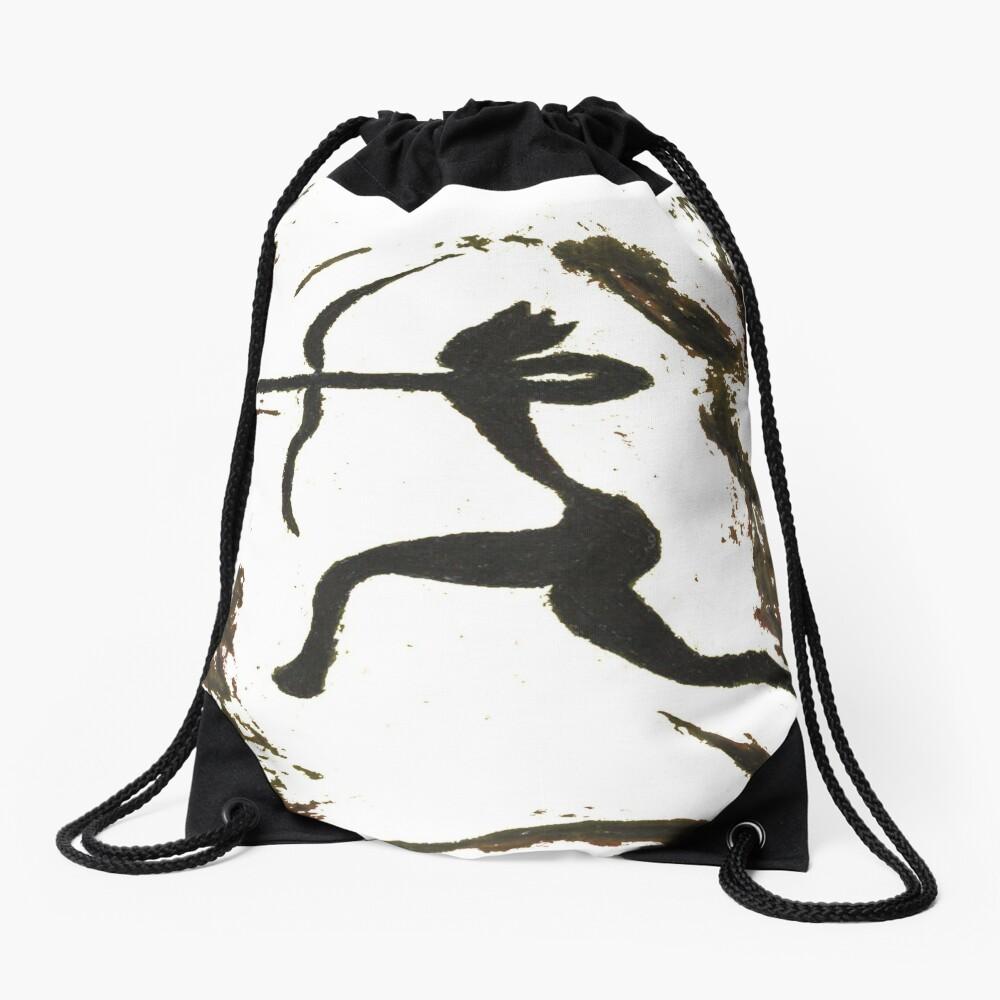 painting, art, outdoors, tree, one, illustration, water, bird, no people, pattern, square, animal, day Drawstring Bag